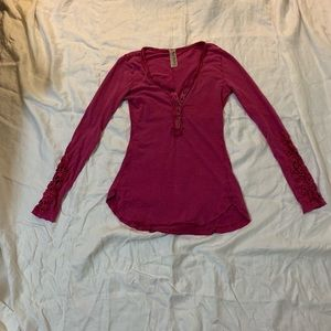Free People Pink Embroidered Sleeve Henley